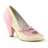 Rosa 9,5 cm POPPY-18 Pinup zapatos de salón tacón bajo