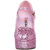 Rosa Brillo 11 cm MARYJANE-50G Plataforma Zapato Salón Mary Jane
