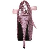 Rosa Brillo 14,5 cm Burlesque TEEZE-10G Platform Calzado de Salón