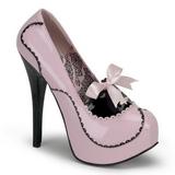 Rosa Charol 14,5 cm BORDELLO TEEZE-01 Plataforma Zapatos de Salón
