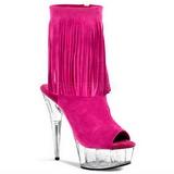 Rosa Gamuza 15 cm DELIGHT-1019 botines con flecos de mujer tacón altos