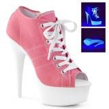 Rosa Neon 15 cm DELIGHT-600SK-01 Zapatos de lona con tacón