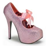Rosa Piedras Strass 14,5 cm Burlesque TEEZE-04R Plataforma Zapato Salón