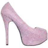 Rosa Piedras Strass 14,5 cm Burlesque TEEZE-06R Plataforma Zapato Salón