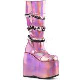 Rosa Polipiel 18 cm DEMONIA SLAY-301 botas plataforma góticos