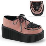Rosa Polipiel CREEPER-216 Zapatos de Creepers Mujeres Plataforma