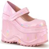 Rosa Vegano 15 cm WAVE-32 zapatos de salón mary jane plataforma cuña alta
