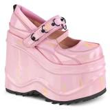 Rosa Vegano 15 cm WAVE-48 zapatos de salón mary jane plataforma cuña alta