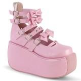Rosa Vegano 9 cm DEMONIA VIOLET-45 zapatos de salón mary jane plataforma