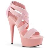 Rosa banda elástica 15 cm DELIGHT-669 calzado pleaser con tacón de mujer