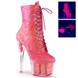 Rosa brillo 18 cm ADORE-1020G botines con suela plataforma mujer