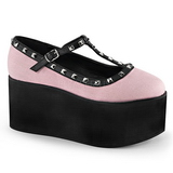 Rosa lona 8 cm CLICK-07 zapatos góticos calzados suela gruesa