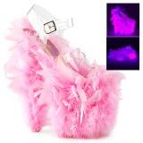 Rosa plumas de marabu 20 cm FLAMINGO-808F Zapatos pole dance