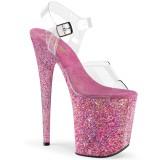 Rosa purpurina 20 cm FLAMINGO-808CF Zapatos con tacones pole dance