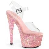 Rosa purpurina plataforma 18 cm ADORE-708LG zapatos para pole dance y striptease