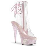 Rosa transparente 15 cm DELIGHT-1018C botines de striptease