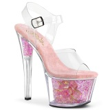 Rosa transparente 18 cm SKY-308CF Zapatos de striptease