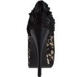 Satinado Beige 14,5 cm Burlesque TEEZE-19 Plataforma Zapatos de Salón
