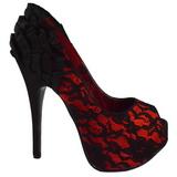 Satinado Rojo 14,5 cm TEEZE-19 Plataforma Zapatos de Salón