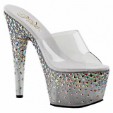 Silver 18 cm PLEASER STARSPLASH-701 Star Platform High Mules Shoes