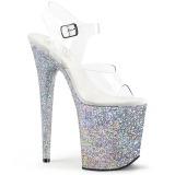 Silver Brillo 20 cm FLAMINGO-808LG Plataforma Zapatos de Tacón Alto