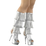 Silver Leatherette 15 cm DELIGHT-2019-3 womens fringe boots high heels