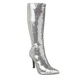 Silver Sequins 9,5 cm FUNTASMA LUST-2001SQ Women Knee Boots