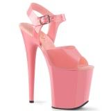 Tacones rosas 20 cm FLAMINGO-808N JELLY-LIKE material elástico tacones altos plataforma