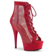 Tejido de malla y strass 15 cm DELIGHT botines con cordones en rojo
