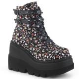 Tejidos de lino 11,5 cm SHAKER-52ST botines góticos botines cuña alta