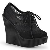 Tela de Encaje CREEPER-307 zapatos de cuñas creepers mujer