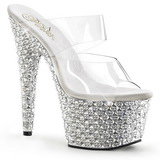Transparent Silver 18 cm BEJEWELED-702PS Strass Platform Mules