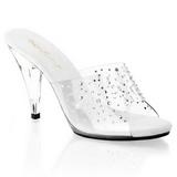 Transparente 11 cm CARESS-401RS Mulas Zapatos Cristal Piedra Tacones