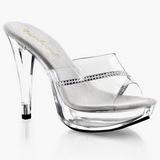 Transparente 14 cm COCKTAIL-501R Mulas Zapatos Cristal Piedra Tacones