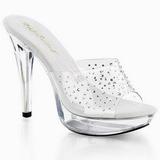 Transparente 14 cm COCKTAIL-501RS Mulas Zapatos Cristal Piedra Tacones
