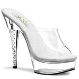 Transparente 14 cm DIAMOND-601 Mulas Zapatos Cristal Piedra Tacones