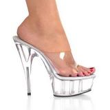 Transparente 15,5 cm Pleaser DELIGHT-601 Plataforma Mules Calzado