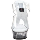Transparente 15,5 cm Pleaser DELIGHT-602 Plataforma Mules Calzado