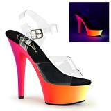 Transparente 15,5 cm RAINBOW-208UV Sandalias Mujer Plataforma Neon