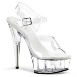 Transparente 15 cm Pleaser DELIGHT-608 Tacones Altos Plataforma