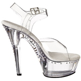 Transparente 15 cm Pleaser KISS-208LS Tacones Altos Plataforma
