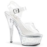 Transparente 15 cm Pleaser KISS-208MMG brillo sandalias de tacón alto