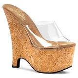 Transparente 16,5 cm Pleaser BEAU-601 Zapatos De Cu�a Alta Corcho