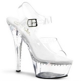 Transparente 16 cm Pleaser KISS-208LS Tacones Altos Plataforma