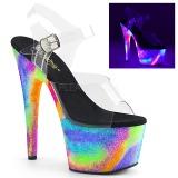 Transparente 18 cm ADORE-708GXY Neon plataforma sandalias de tacón alto