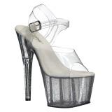 Transparente 18 cm ADORE-708MG brillo plataforma sandalias de tacón alto