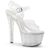 Transparente 18 cm BEJEWELED-708-2 Zapatos tacón altos piedras brillantes