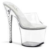 Transparente 18 cm DIAMOND-701 Mulas Zapatos Cristal Piedra Tacones