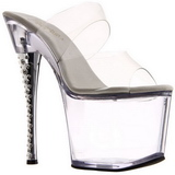 Transparente 18 cm DIAMOND-702 Mulas Tacones Altos Piedras Strass