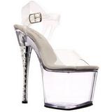 Transparente 18 cm DIAMOND-708 Zapatos tacón altos piedras brillantes